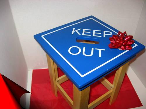 KEEP OUT WOODEN CHILD'S STOOL -