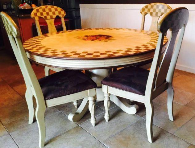 Round Wood Dining Set - Seats 4 Hand Painted Floral Design