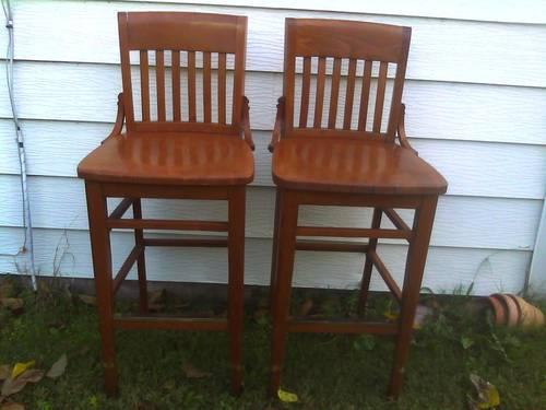 Pair of Wood Barstools w/ Backs for Sale or Trade