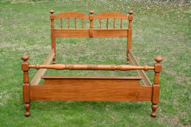SOLID CHERRY WOOD DOUBLE FULL BED HEADBOARD FOOTBOARD AND RAILS