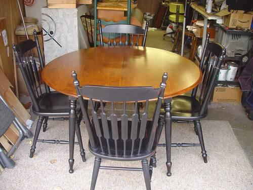 Solid Maple Dining Set Antiqued In Black Table 6 Chairs Beautiful Fo