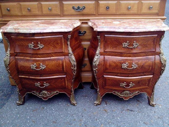 Italian marble topped bombay end tables