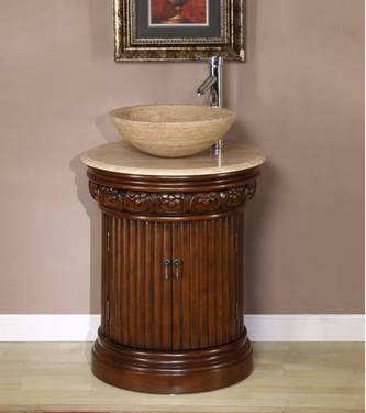 Modern Travertine Stone Top & Vessel Bowl Sink Bathroom Vanity - G1084