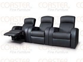 Black leather theater chair electric recliner