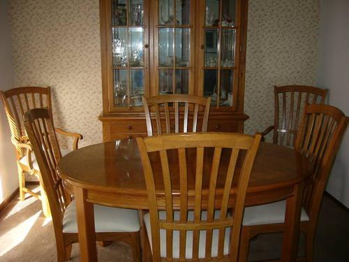 thomasville dining room set with china cabinet solid oak for sale in