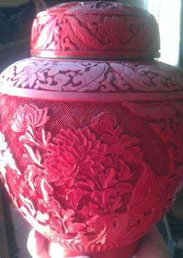 1900's pair oriental carved cinnabar urns absolutely beautiful