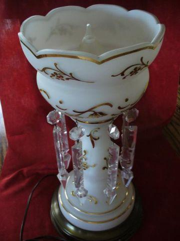 Beautiful Antique Luster Lustre Crystal Prism Lamp