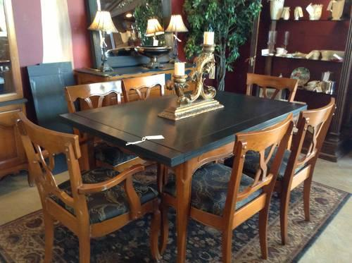 dining table with six chairs custom pads hutch and
