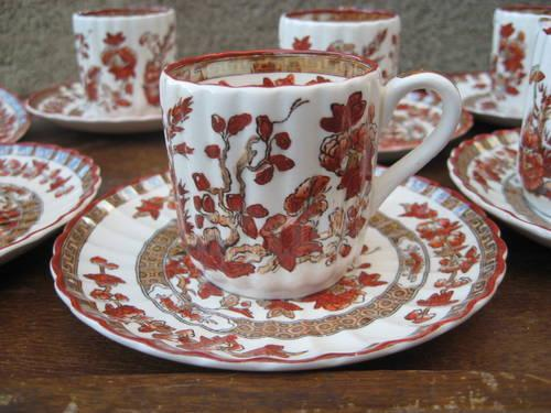 8 Spode INDIAN TREE ORANGE/RUST Demitasse Set-Demi Cups and Saucers