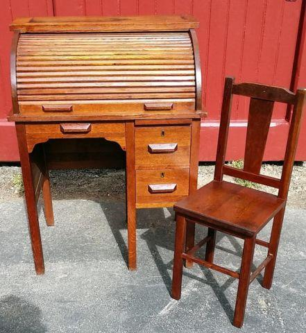Antique Child's Rolltop Desk and Chair