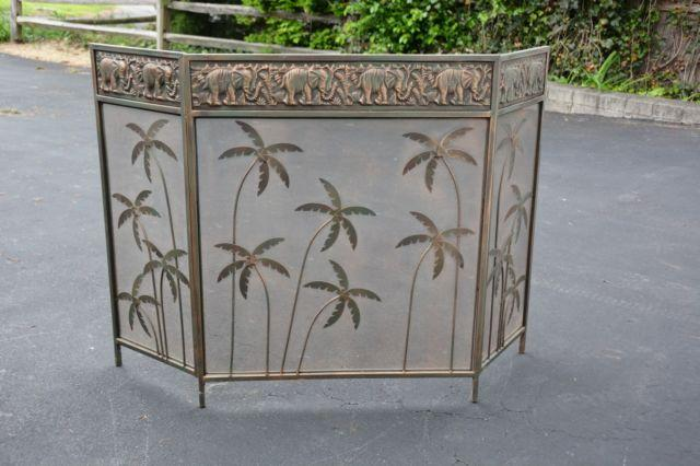 TRI-PANEL MESH FIREPLACE SCREEN WITH ELEPHANT BORDER AND PALM TREES