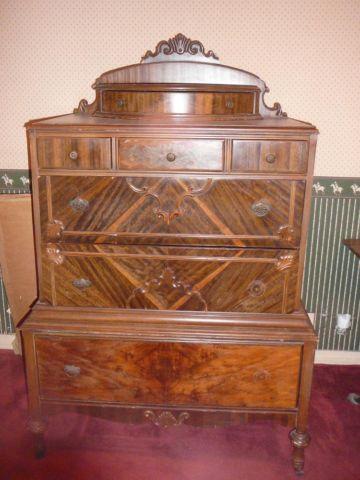 Three Drawer Lyre Empire Style Dresser