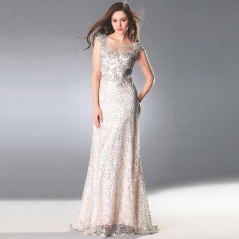 Beaded ******Cap Sleeve Handmade Floral Evening Dress See Through Back