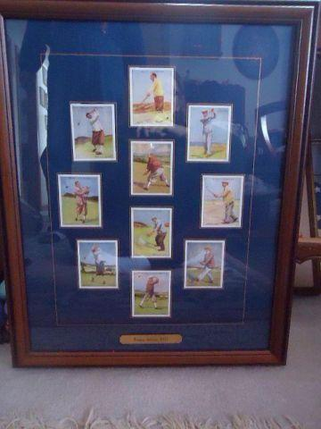 Vintage Cigarette Cards of Famous 1930 Golfers framed