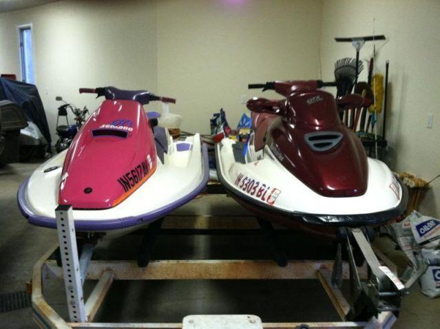 Two Seadoo JetSkis1992&1998 GTX Free 2 Place Trailer