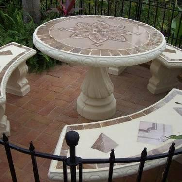 Glass top patio table and chairs - Concrete Patio Furniture For Sale In Lakeland Florida