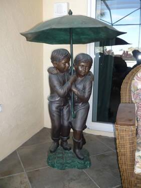 Bronze Children Statue - Boy & Girl Standing Under Umbrella Fountain