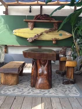 Mermaid table and benches ! Hand carved Sequoia redwood !