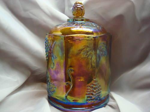 Indiana Carnival Glass Canister w/Lid Iridescent Amber Harvest Grape