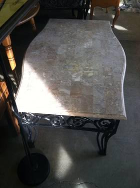Very Nice Matching Granite & Wrought Iron Coffee Table & Sofa Table