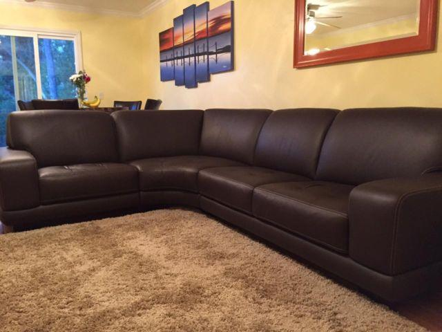 Chocolate Brown Leather Sectional
