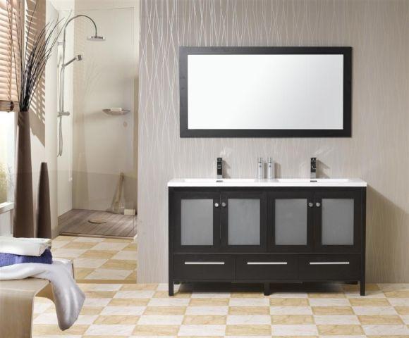 60'' Brezza Double Sink Modern Bathroom Vanity