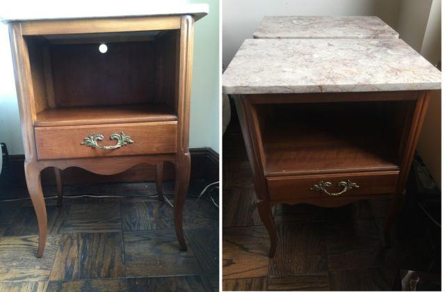 Set of 2 Vintage Kindel Oak and Marble-Top Nightstands