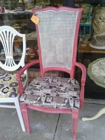 French Provincial Chair Hand Painted Coral Cane Back