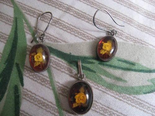 Sterling Silver Pendant, Earrings