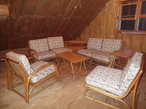 mid century heywood wakefield 7 piece rattan furniture set