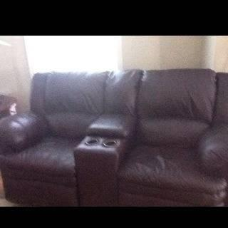 Leather furniture both pieces recline