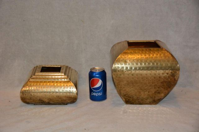 TWO SOLID HAMMERED BRASS PLANTERS HANDCRAFTED IN INDIA