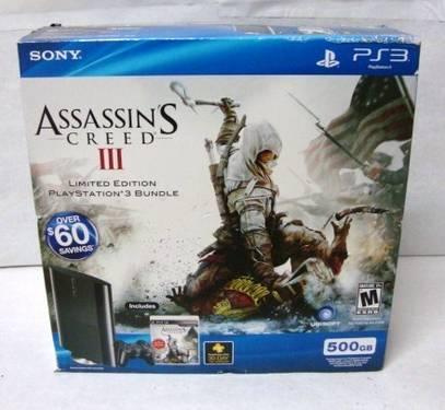 NEW IN BOX ASSASSINS CREED III PLAYSTATION 3/PS3 500GB LIMITED EDITION