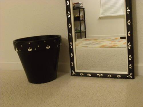 Mirror work on mirror & pot - new - handcrafted