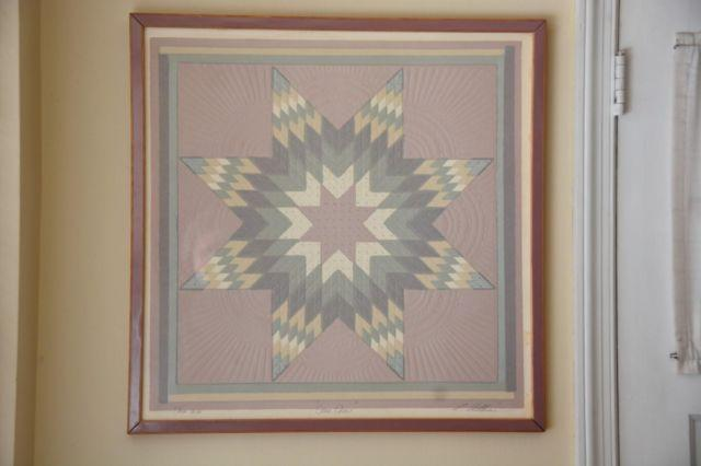 SIGNED SERIGRAPH PICTURE SOUTHWESTERN STAR QUILT BY ROBERTA ADKINS
