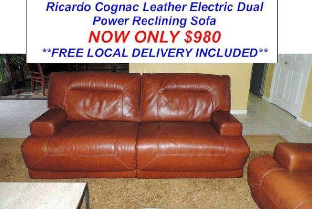 Top Grain Cognac Leather Dual Power Reclining Sofa Set