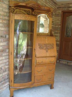 1920 S Antique Oak Side By Side Secretary Desk Curio