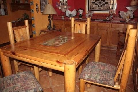 UNIQUE SOUTHWESTERN LODGEPOLE PINE DINING TABLE AND 4 CHAIRS Reduced!