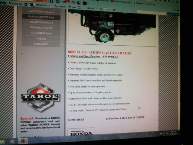 NEW Honda powered Tahoe 8000watt generator