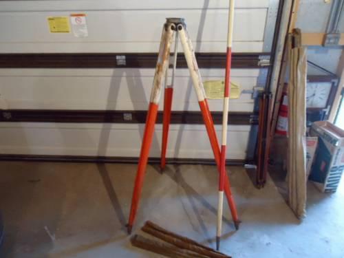 Vintage Wood Surveyors Transit TriPod with Target Rod