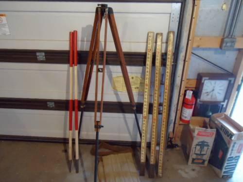 Vintage Wood Surveyors Transit TryPod with Ajustalbe legs