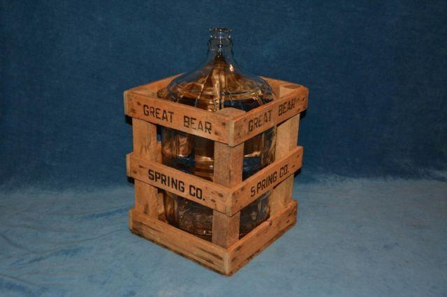 VINTAGE GREAT BEAR 5 GALLON BOTTLE CARBOY W / WOOD DUNNING CARRY CRATE