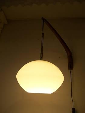 Mid Century Danish Modern Swing Arm Wall Lamp With White Glass Globe
