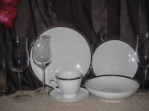 NEW Colin Cowie china white/platinum edge china $60