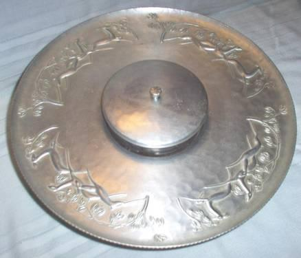 EVERLAST Forged Aluminum LAZY SUSAN with 3-Section Relish Dish OLD!