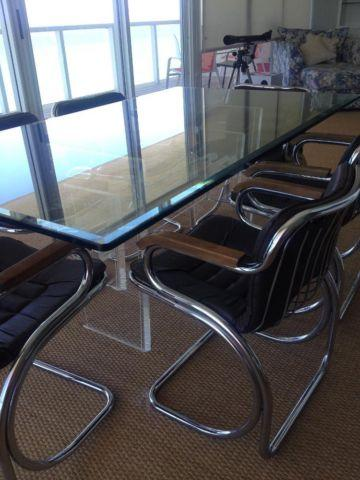 Lucite & Glass Dining Room Table with 6 chrome, brown leather chairs