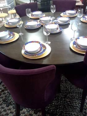 Crate & Barrell Dining Set with 8 velvet chairs