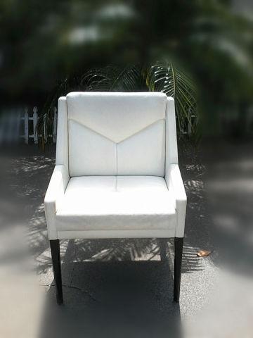 Luxury Italian Ivory chair with Mahogany Legs
