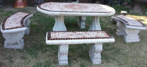 Decorative Concrete Patio Table with two Benches